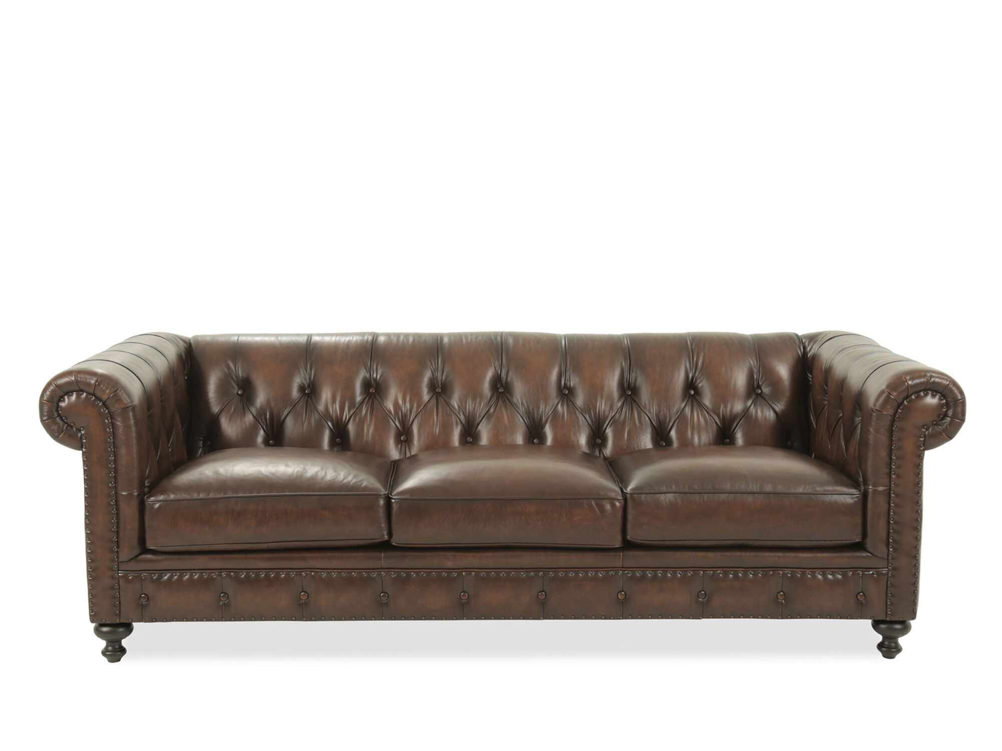 "Leather Button-tufted 92.5"" Sofa In Dark Brown Mathis"