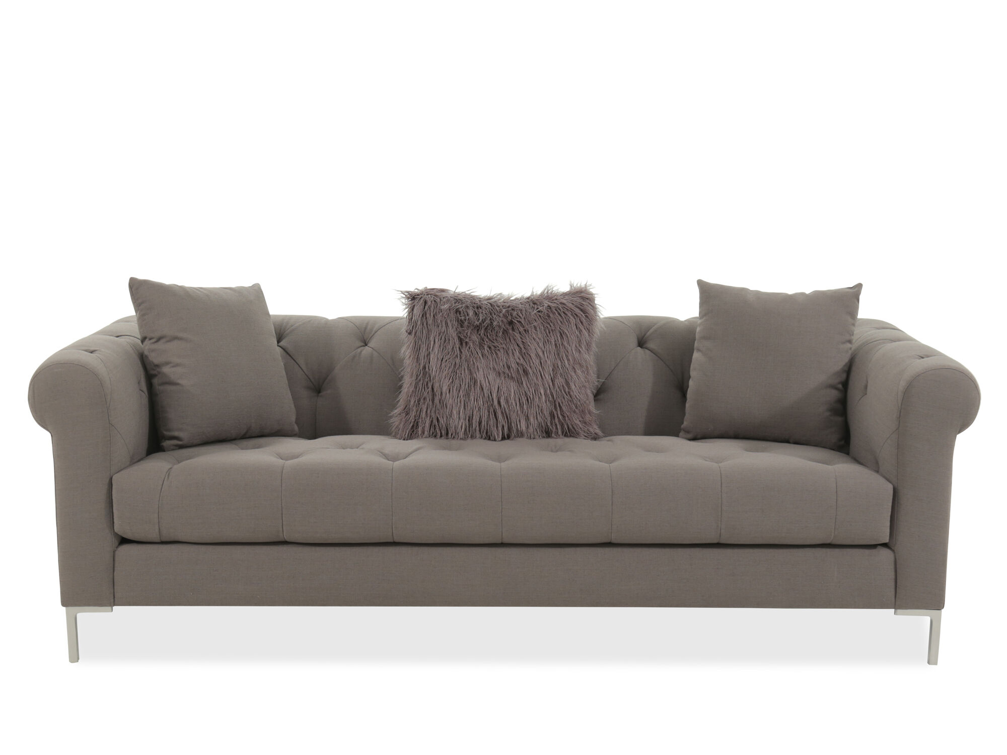 Transitional Tufted 40 Sofa in Gray  Mathis Brothers