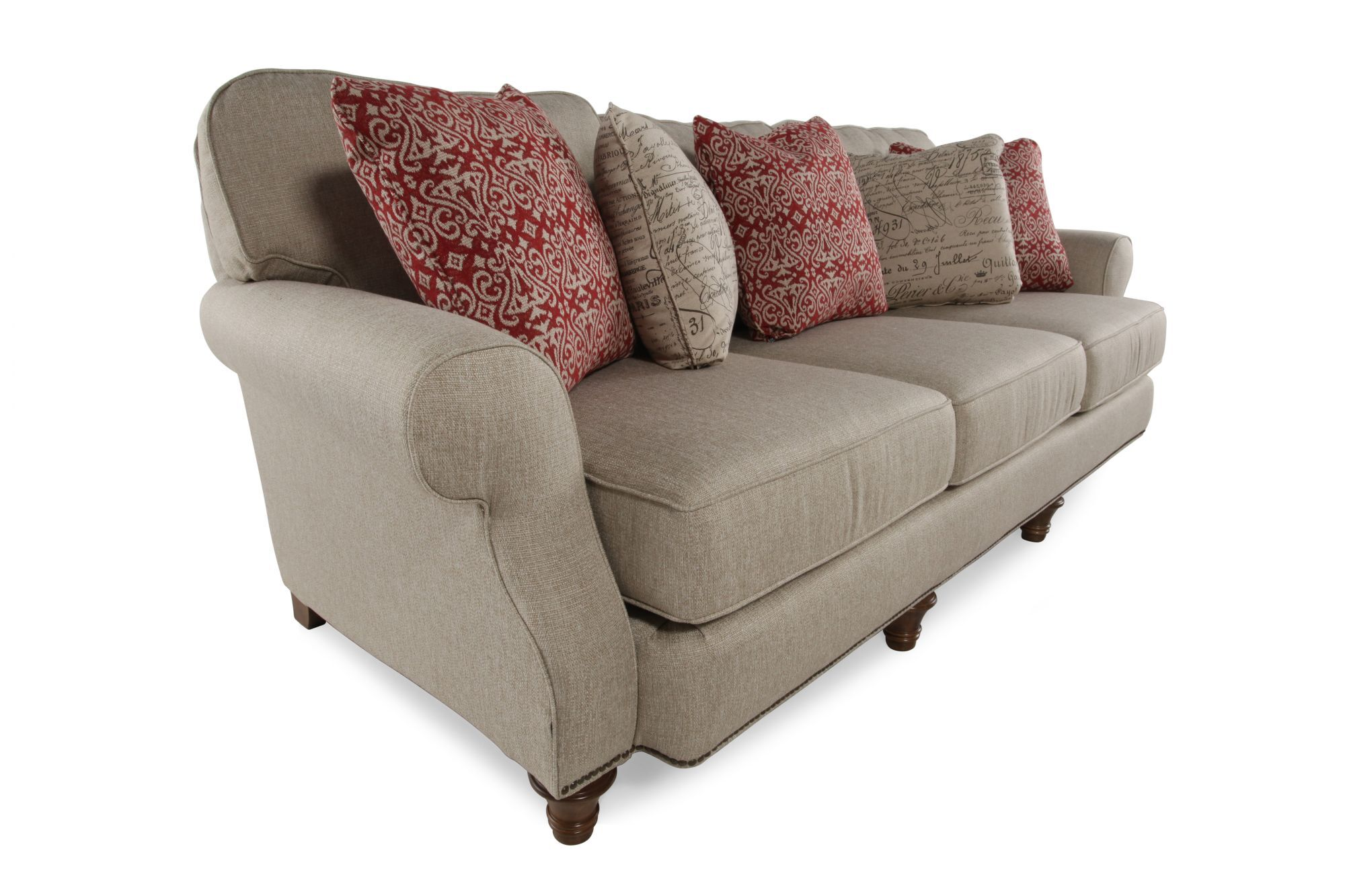 grey carleton nailhead sofa tommy bahama sectional accented 98 quot rolled arm in gray mathis