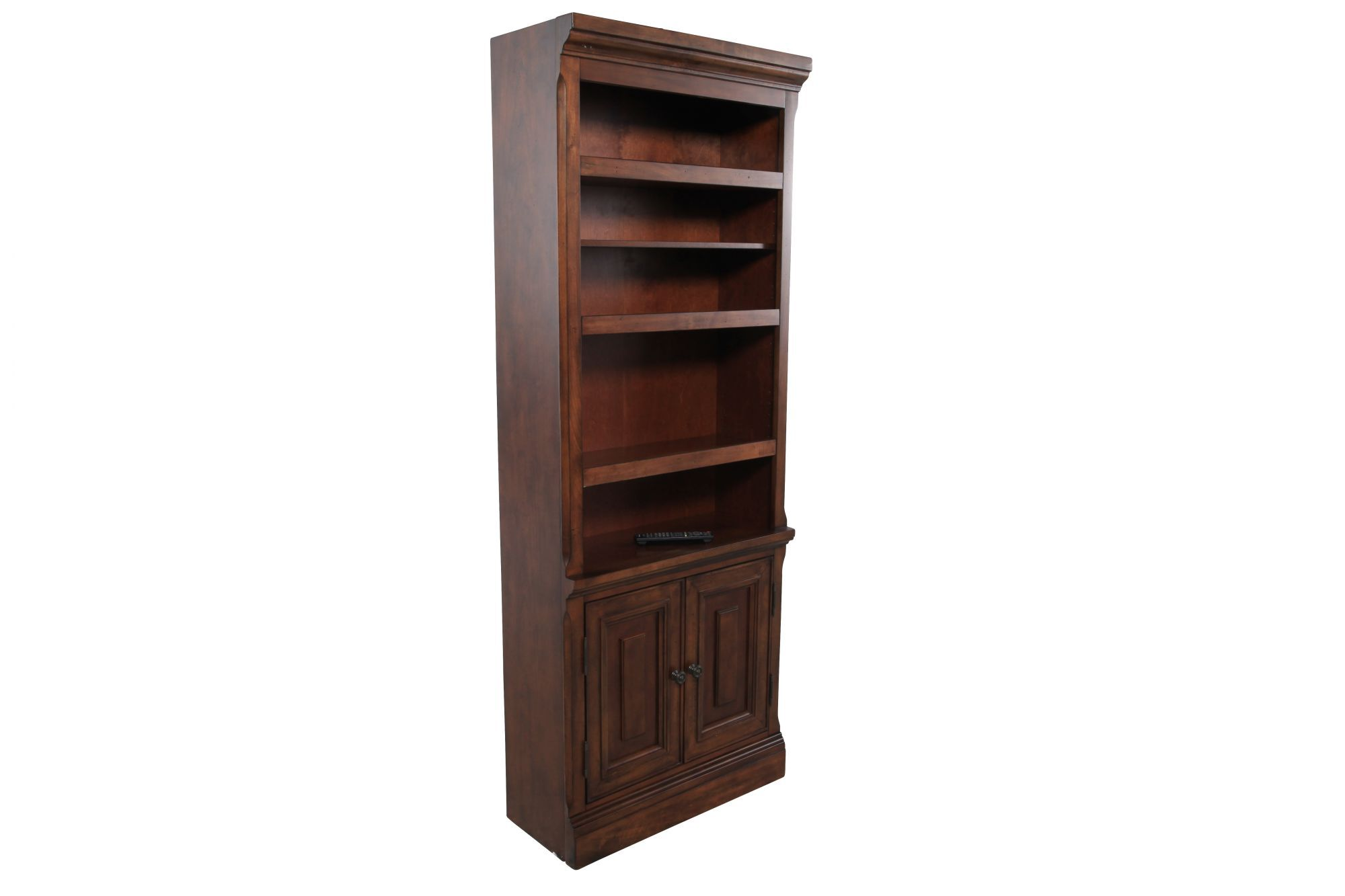 Two Door Traditional Bookcase In Medium Brown Mathis