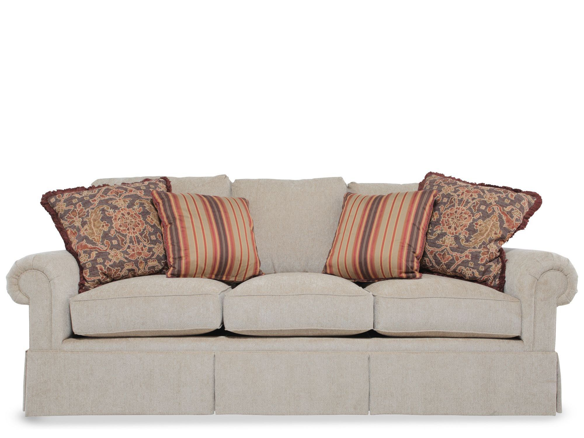 rolled arm sofa nz white settee skirted in light brown mathis brothers