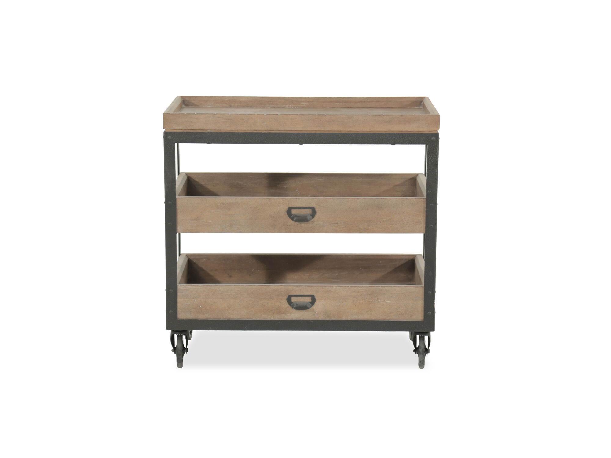29 5 Contemporary Castered Accent Nightstand In Light Oak