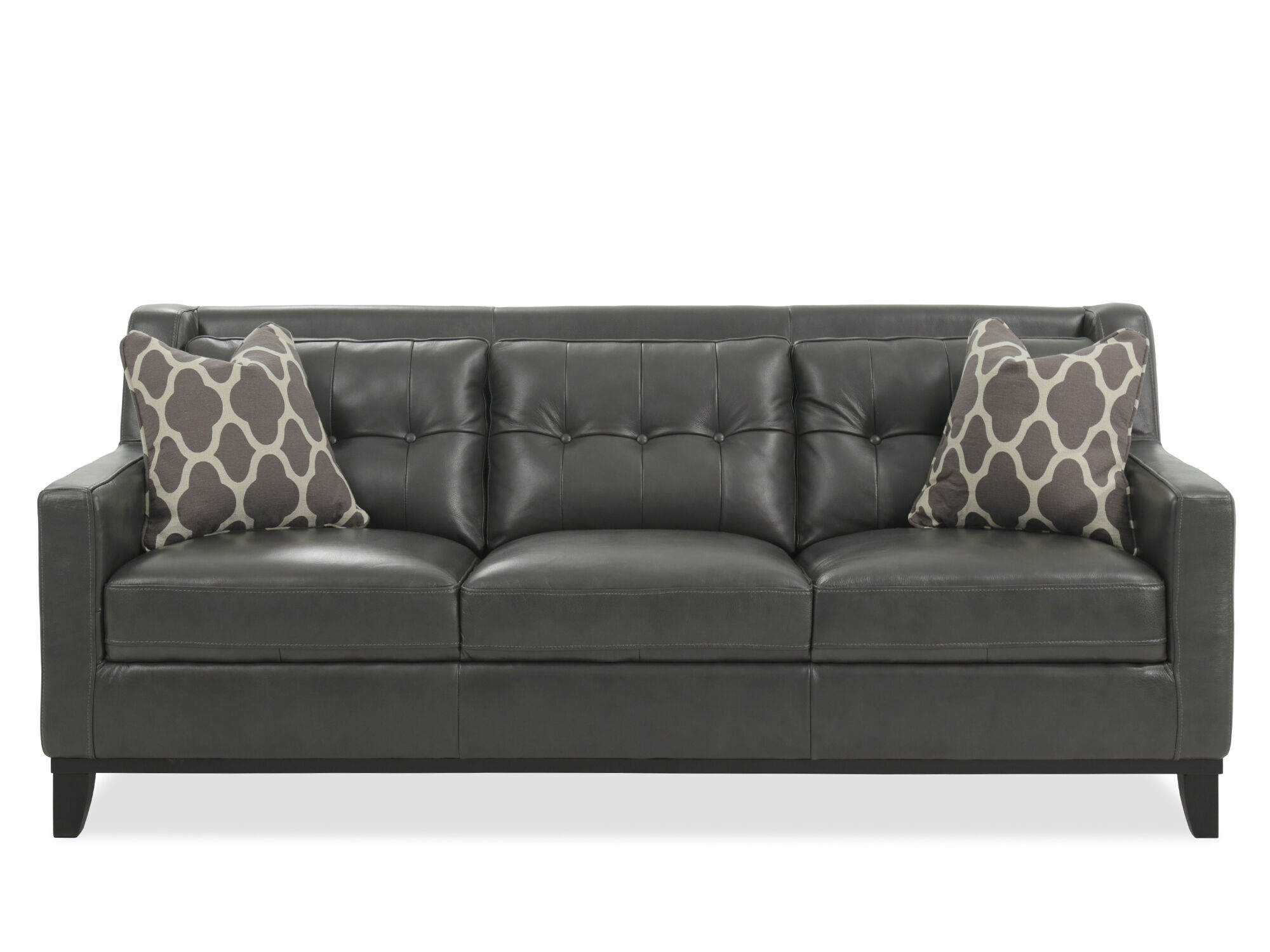 tufted leather sofa cheap milton green madrid futon bed with cup holder button in gunmetal mathis brothers furniture
