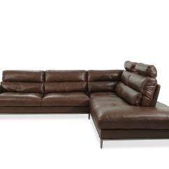 2 Piece Brown Leather Sofa Large Deep Sectional Sofas Two In Mathis Brothers