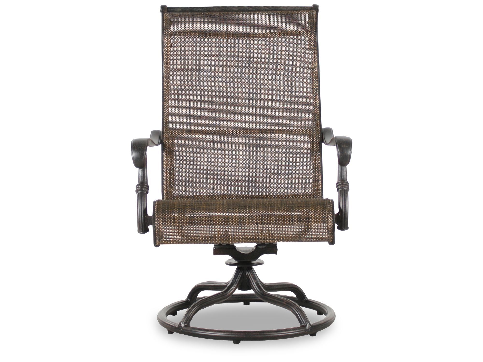 sling back patio chairs chair and a half swivel rocker recliner screen aluminum in brown mathis