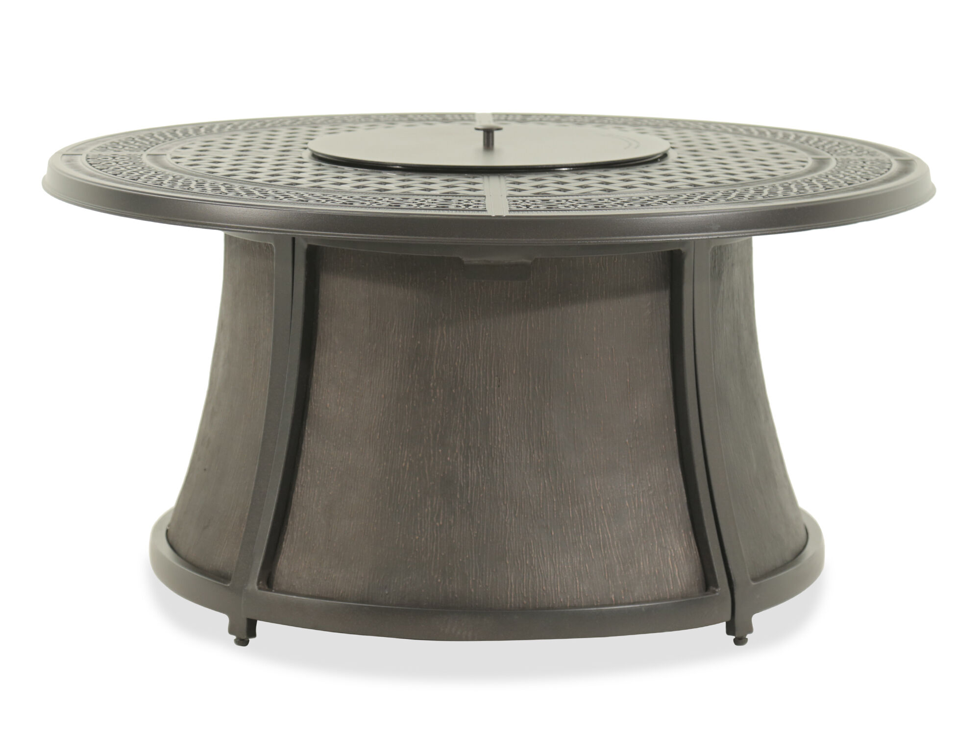 Lattice Cut Out Aluminum Fire Pit In Dark Brown Mathis Brothers Furniture