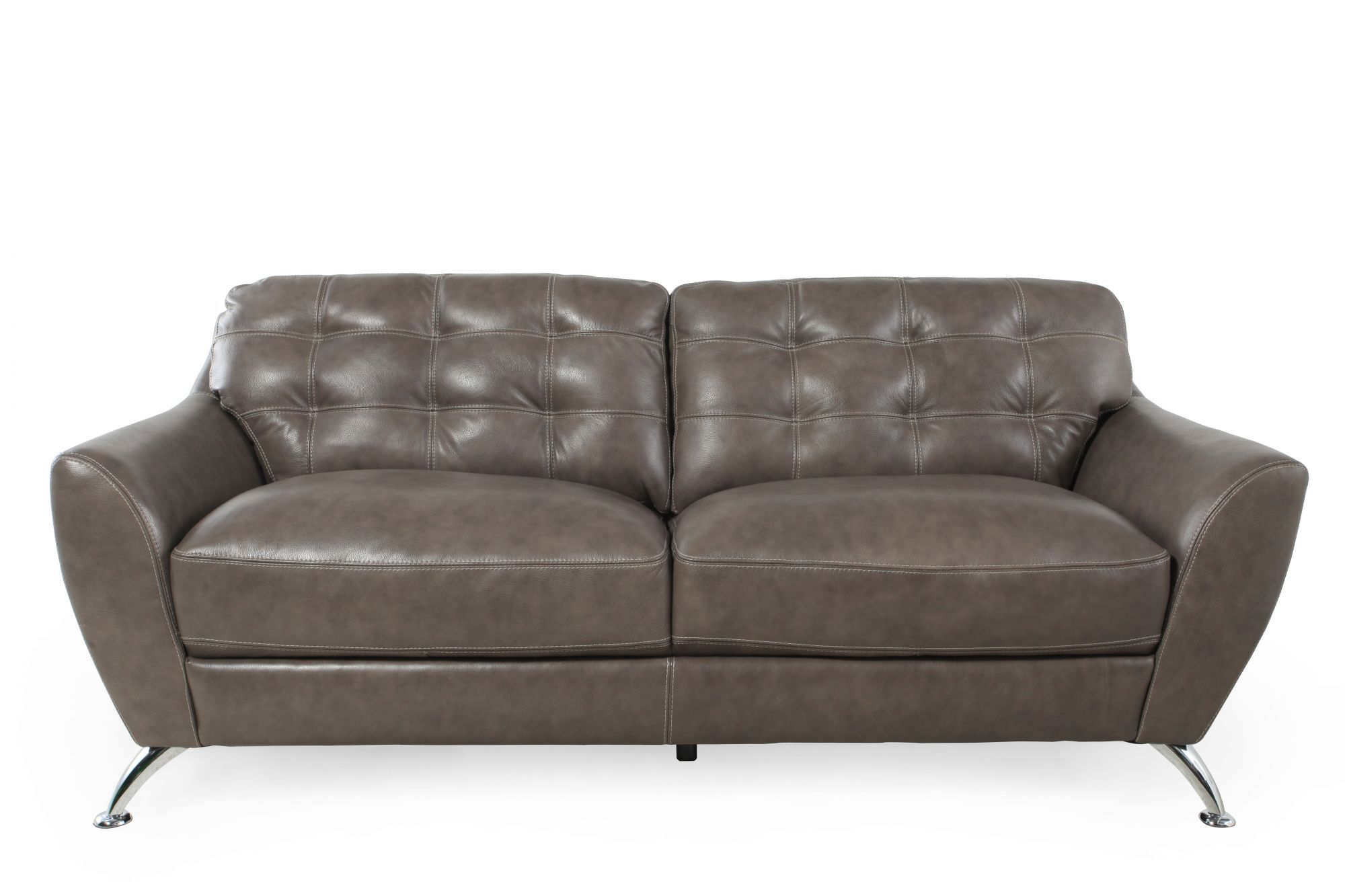 """Tufted Leather 84"""" Sofa in Steel Gray"""