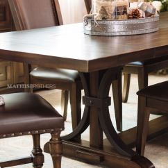 Dark Kitchen Table Shelf Liner Casual 102 To 126 Rectangular Trestle In Brown Mathis Quot