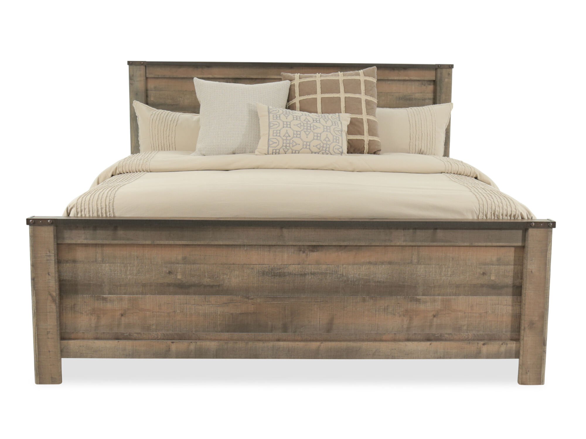 54 Rustic Farmhouse Plank Panel Bed In Brown Mathis