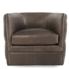 Bernhardt Brown Leather Club Chair And A Half Slipcovers Nailhead Trimmed Industrial 31 5 Swivel In Dark Latte Mathis Brothers Furniture