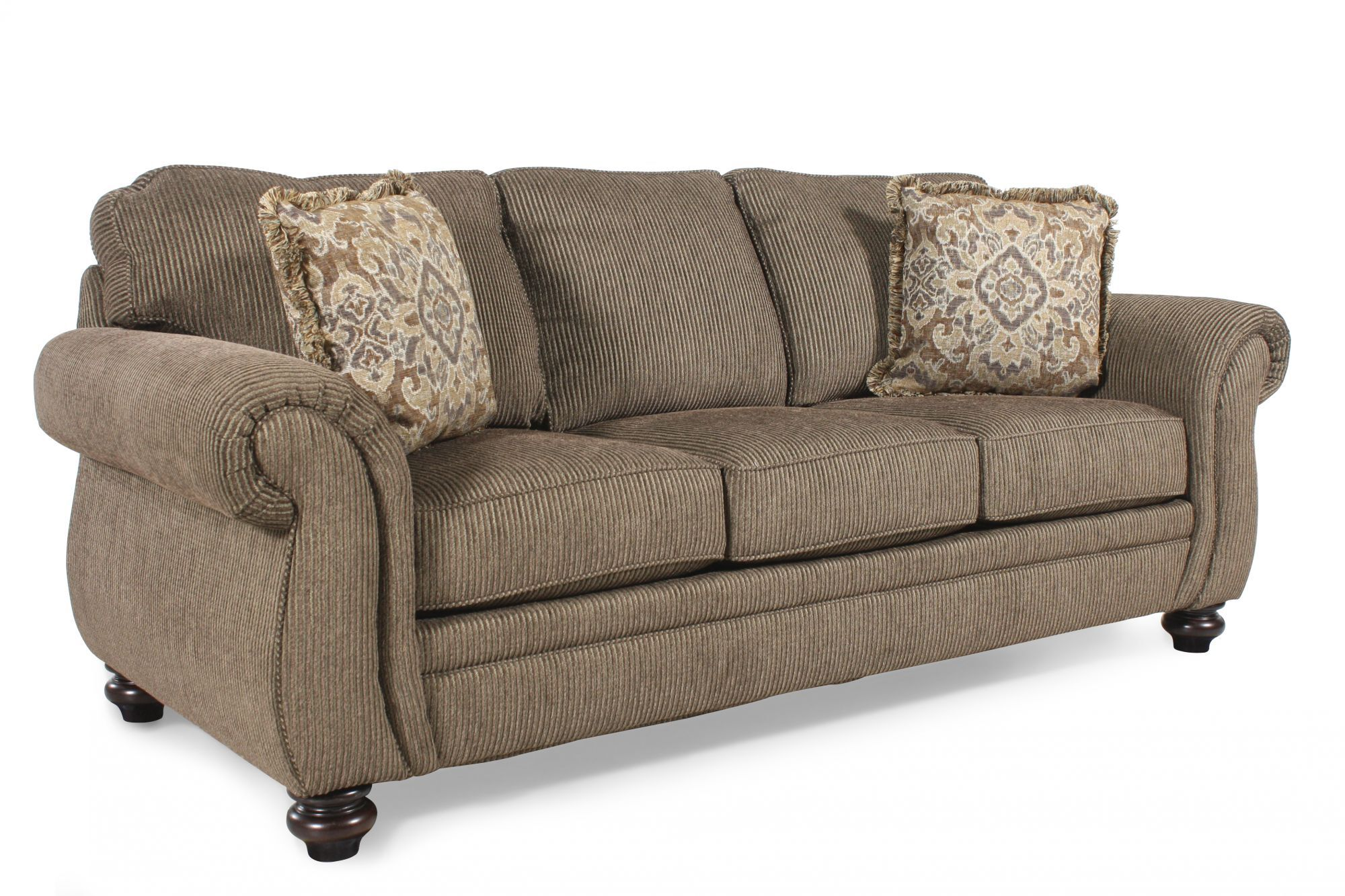 broyhill sleeper sofa store near me corduroy 89 queen in teak mathis brothers furniture
