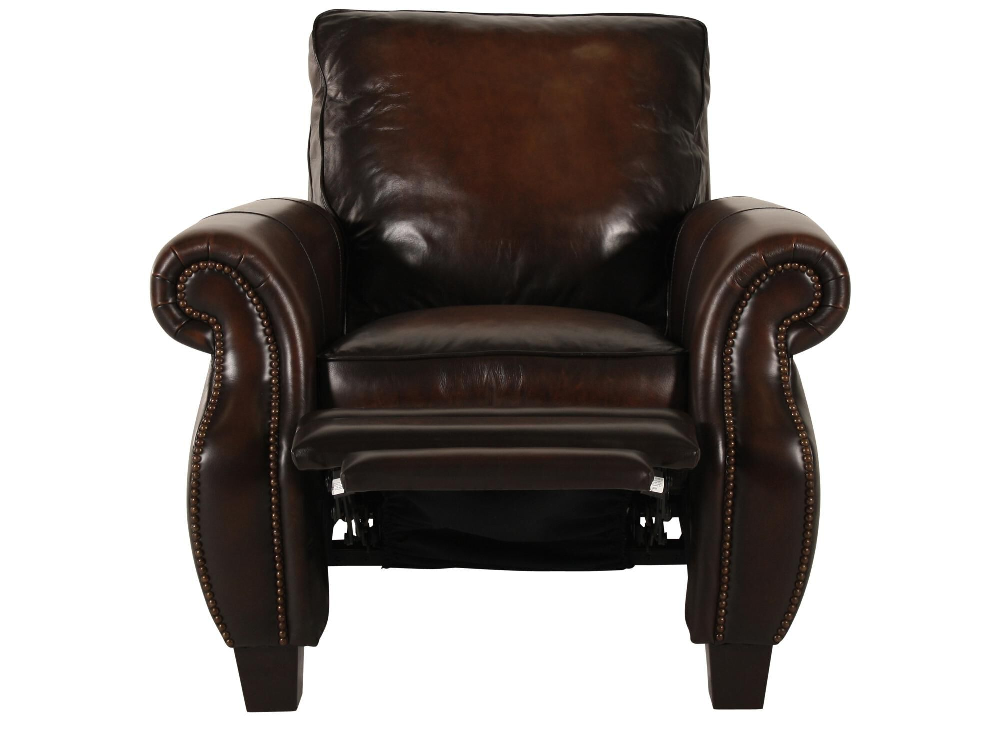 bernhardt brown leather club chair amazon silver covers nailhead accented 37 5 recliner in dark mathis brothers furniture