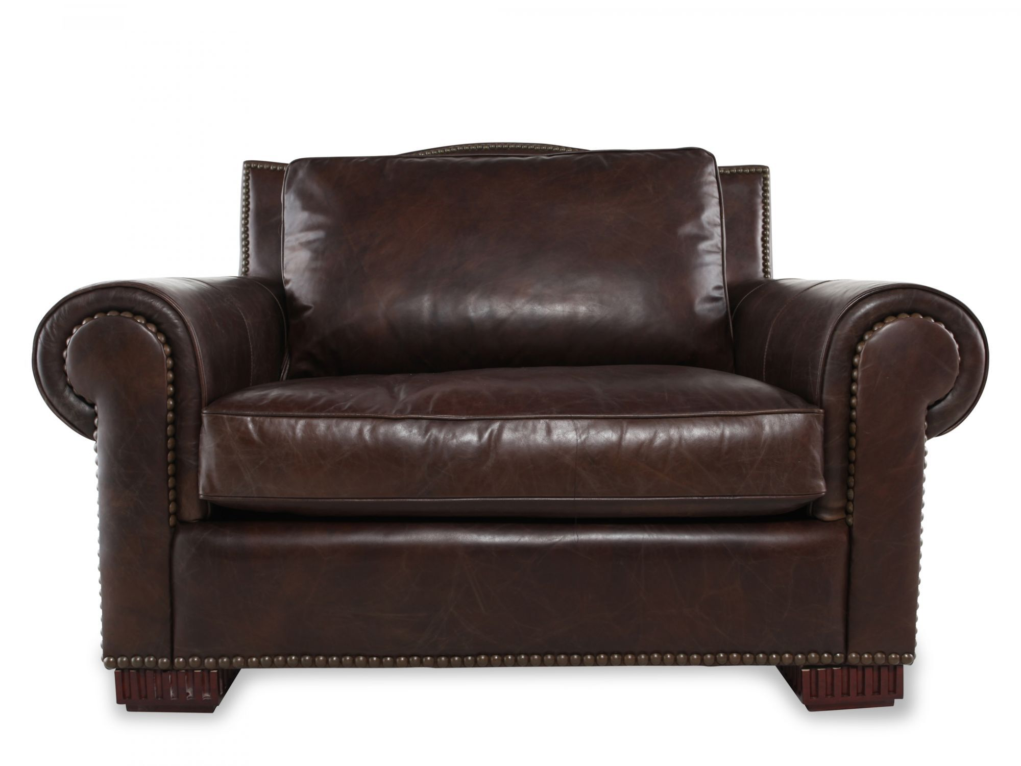 NailheadTrimmed Leather Chair and a Half in Dark Brown