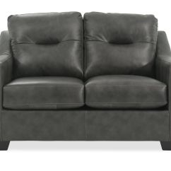 Lauren Ashley 60 Zero Wall Sofa Recliner What Colour With Duck Egg Blue Walls Tufted Leather Quot Loveseat In Charcoal Mathis Brothers