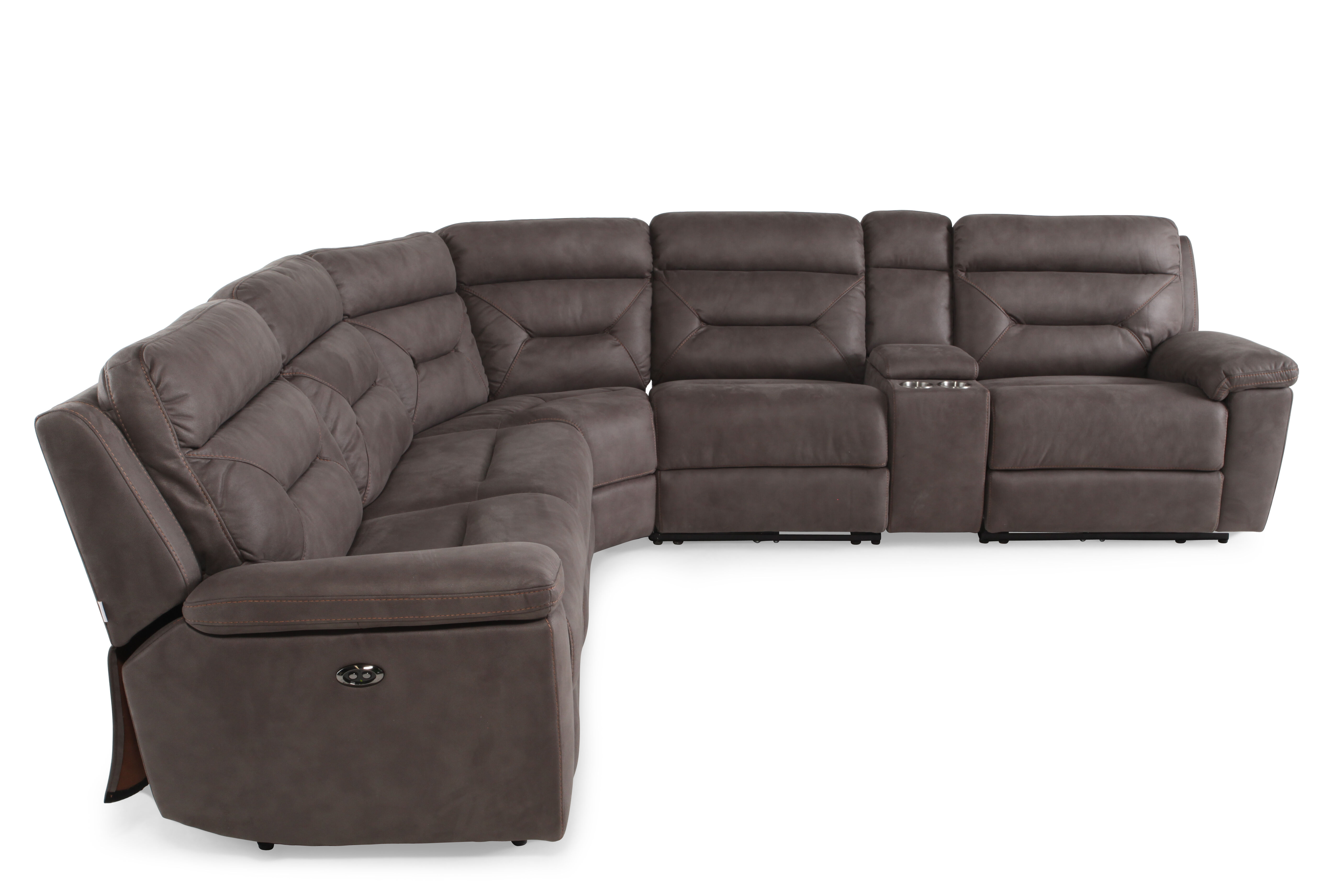 gray microfiber power reclining sofa and chair company opening hours six piece 168 quot sectional in