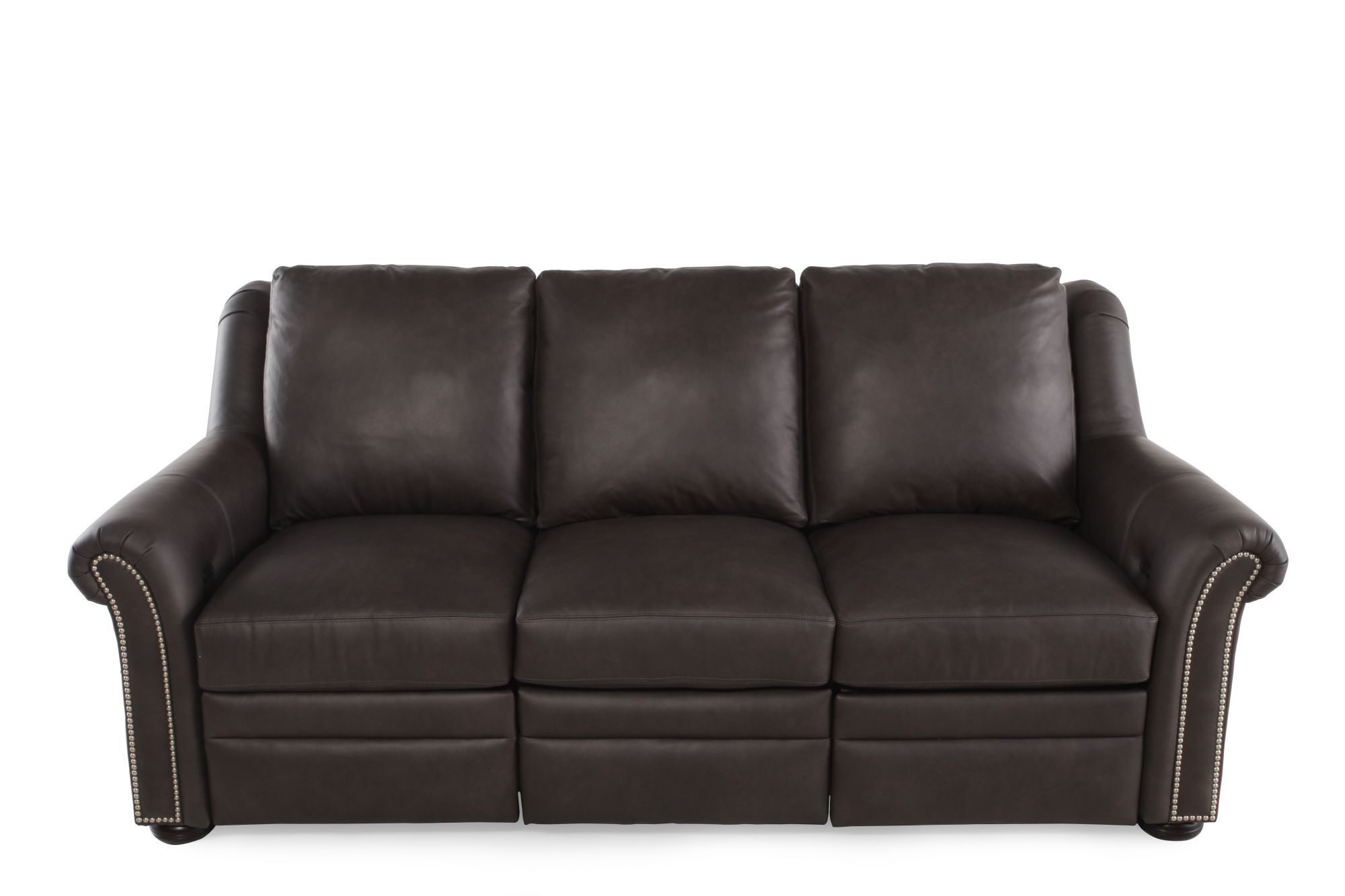 nailhead recliner sofa unique sofas australia accented leather reclining in brown mathis