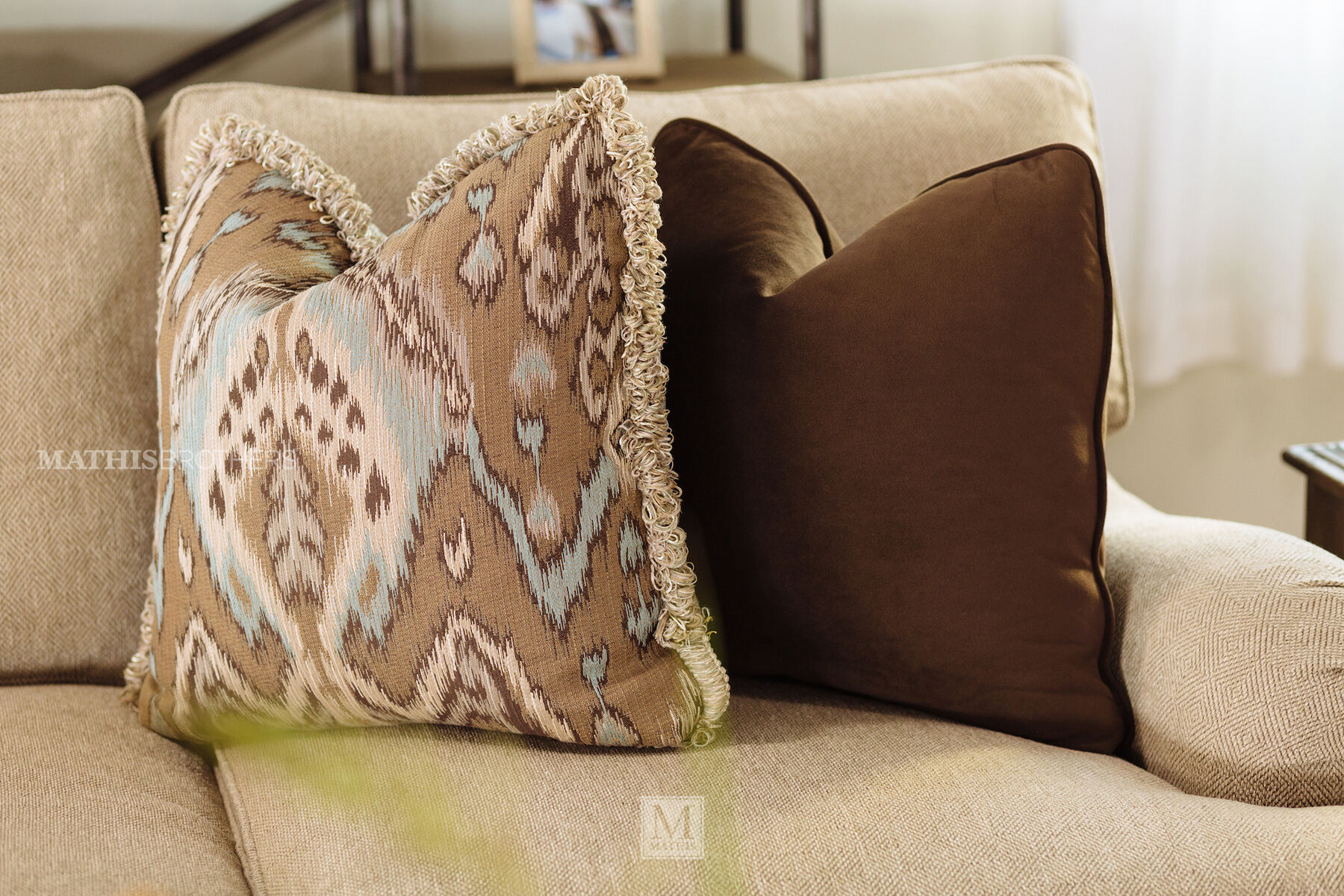 bernhardt walsh sofa cushion covers for dark brown casual 96 5 quot textured in beige mathis brothers