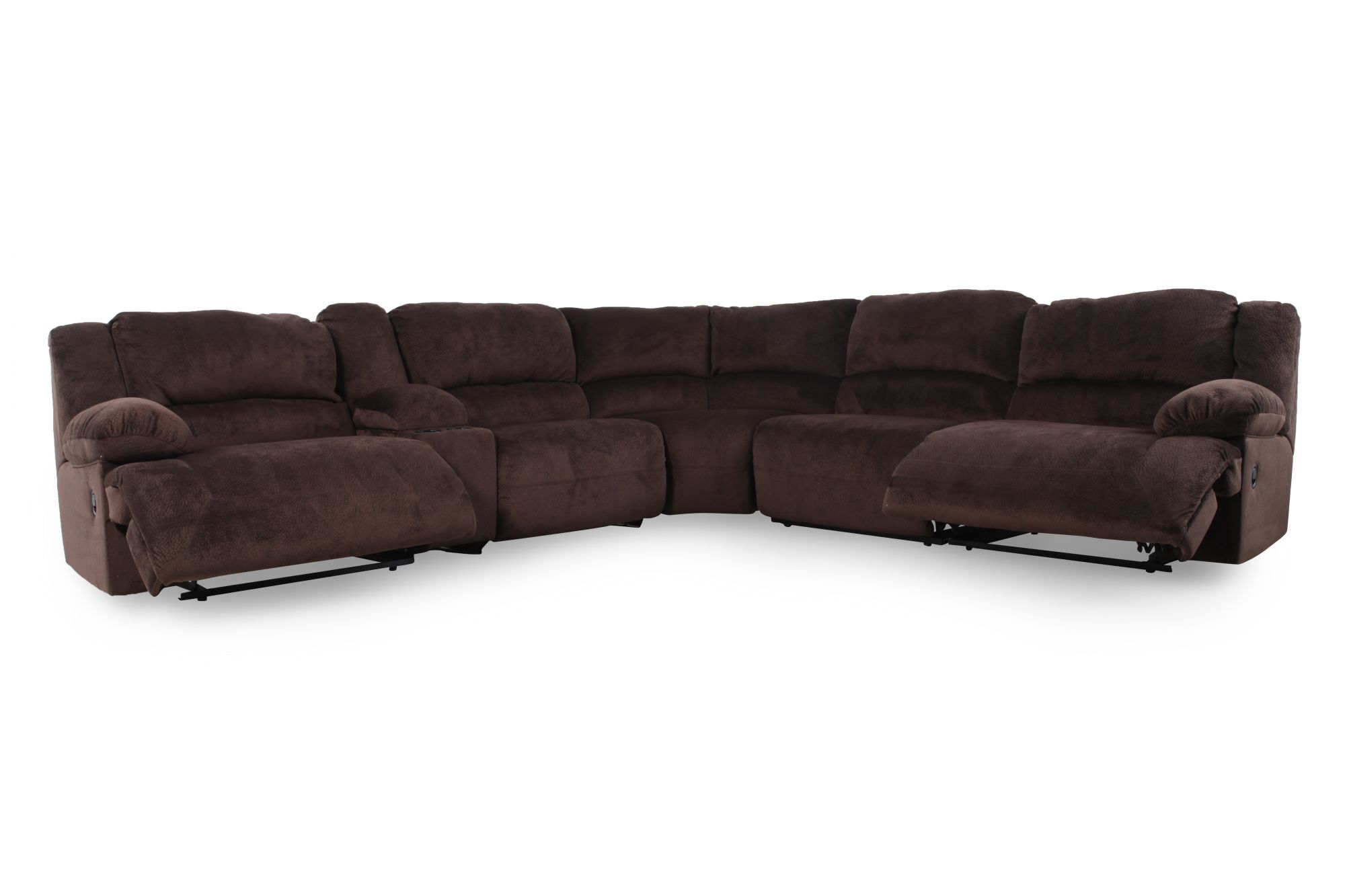corey chocolate brown sectional sofa slate grey reclining microfiber 131 5 quot in mathis