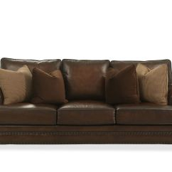Leather Nailhead Sofa Set Sleeper Phoenix Accented 98 Quot In Brown Mathis