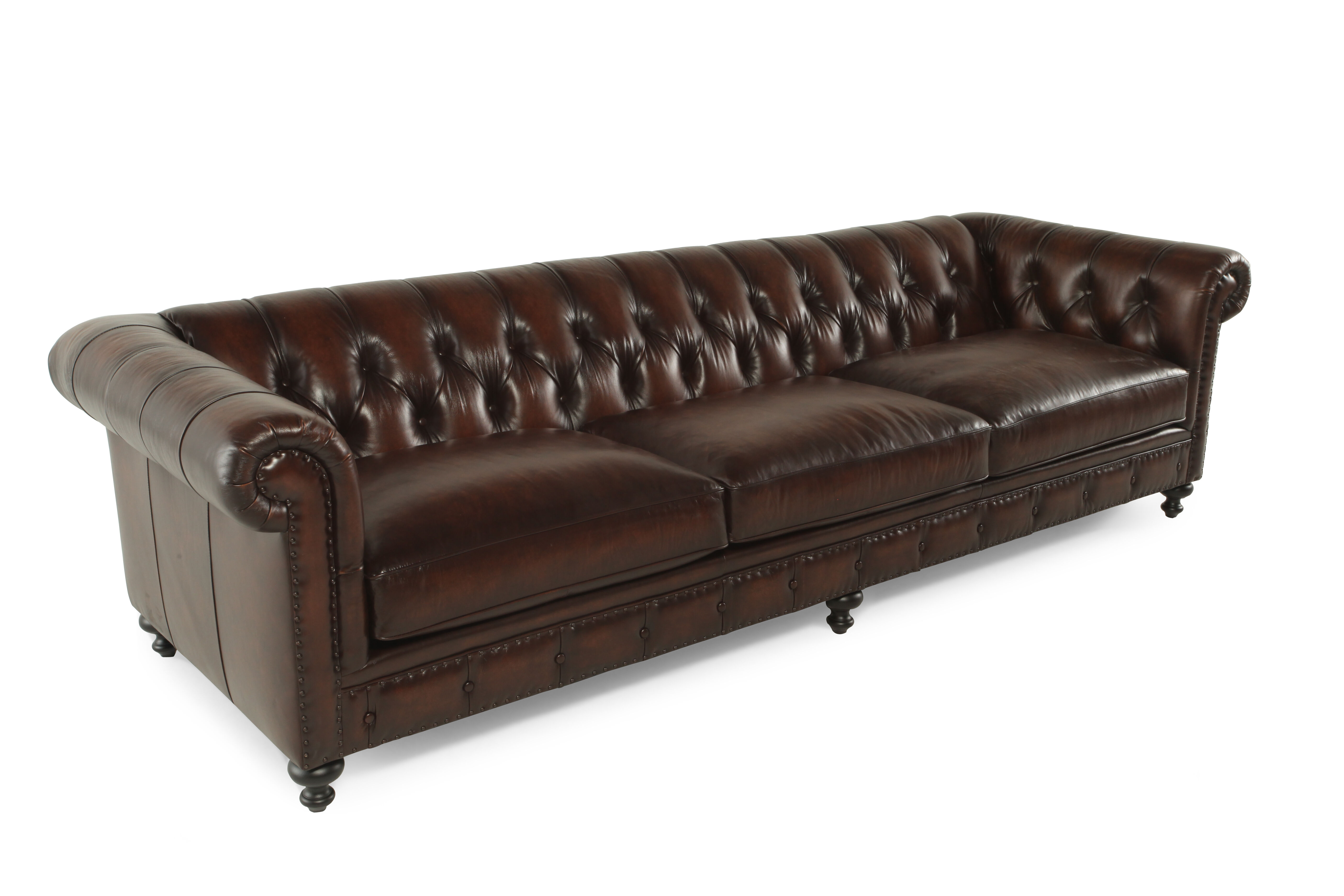 tufted button sofa oak feet leather 116 5 quot in molasses mathis