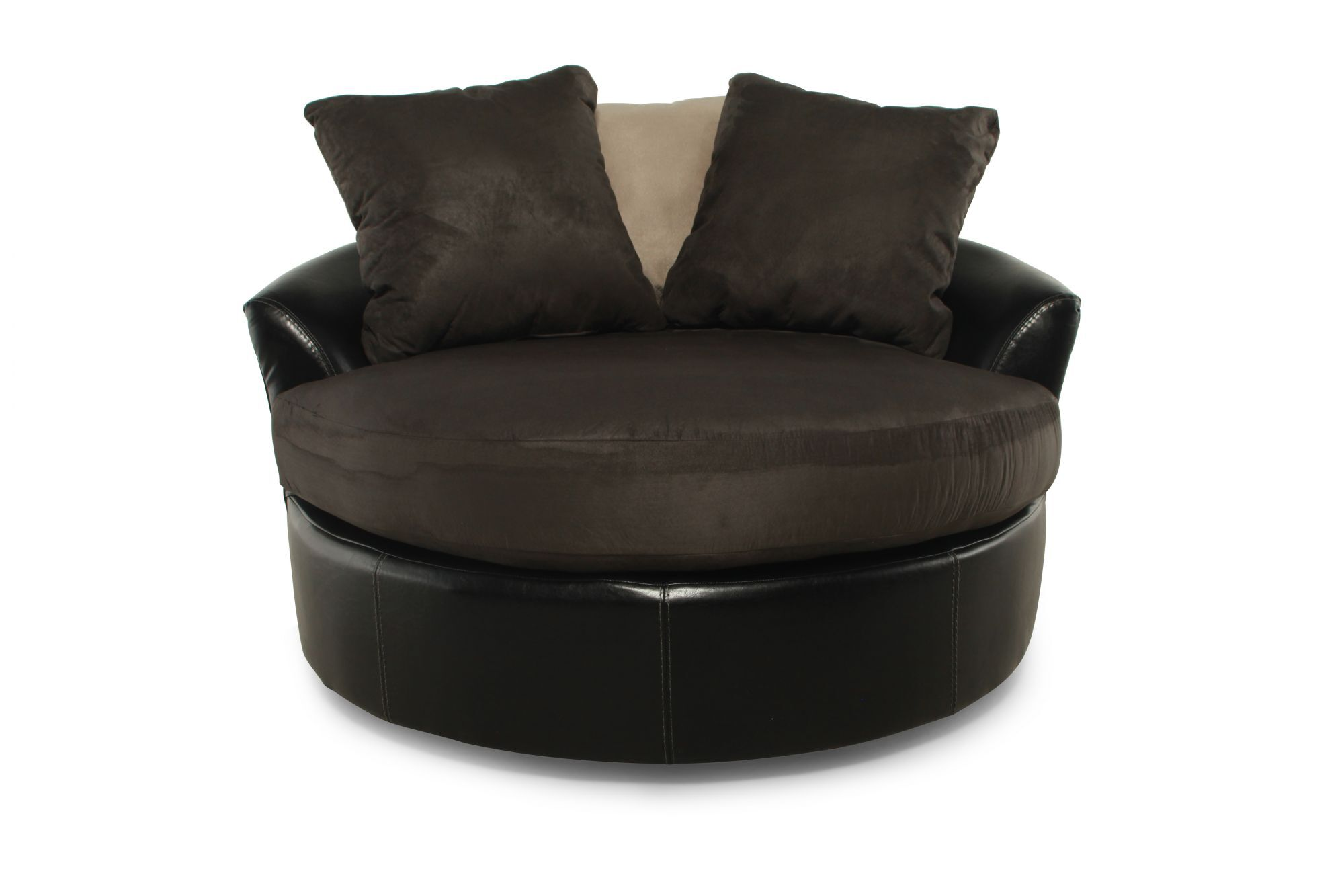 Round Microfiber 58 Swivel Chair in Chocolate  Mathis