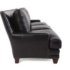Black Leather Sofa With Nailheads Custom Made Beds Uk Nailhead Accented 86 Quot In Mathis