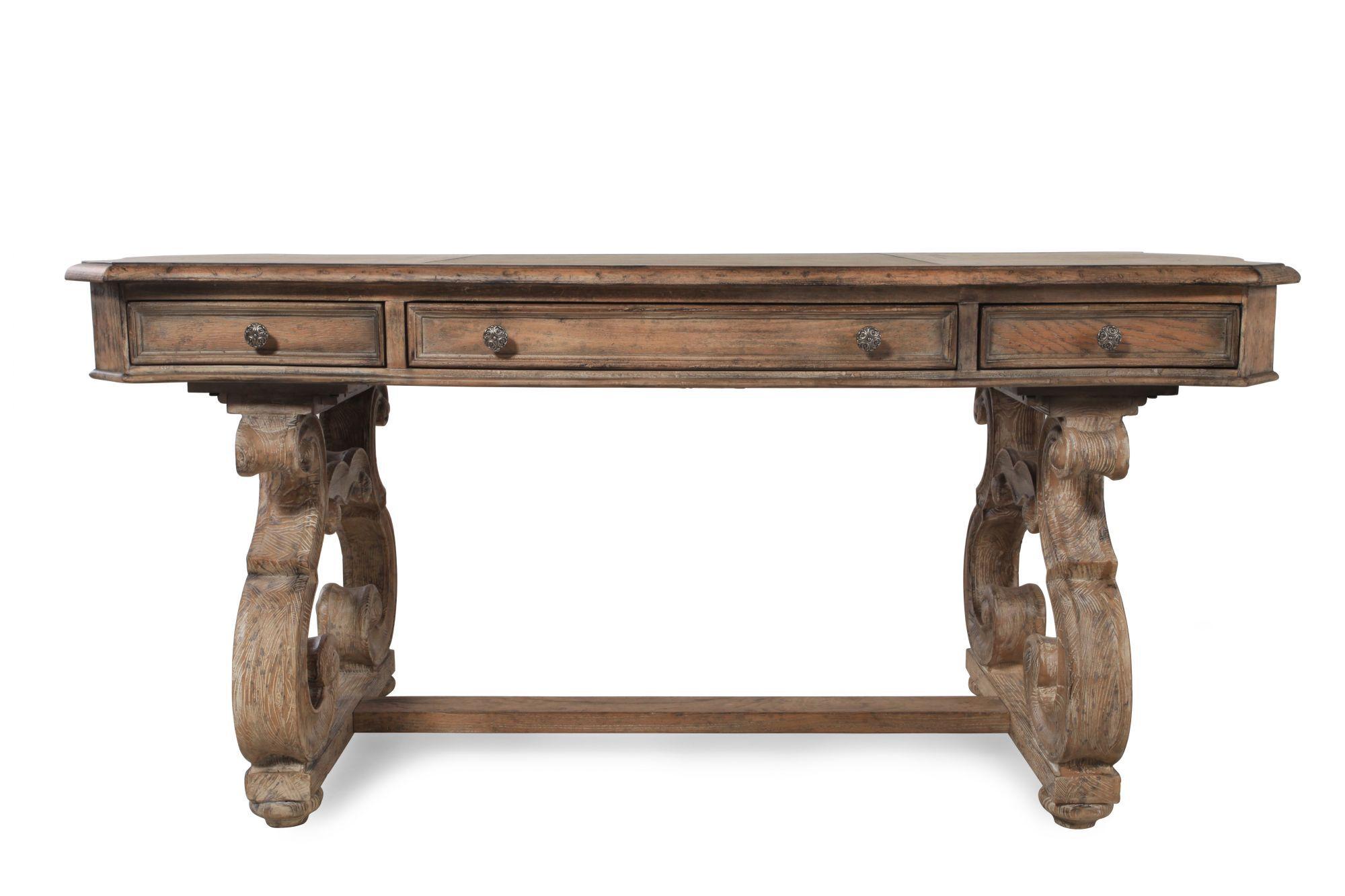 66 Traditional ScrolledLeg Writing Desk in Brown