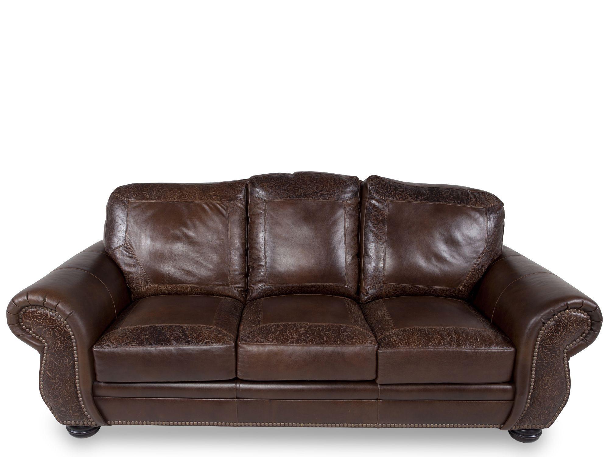 PaisleyPrinted Leather 94 Sofa in Dark Burgundy  Mathis