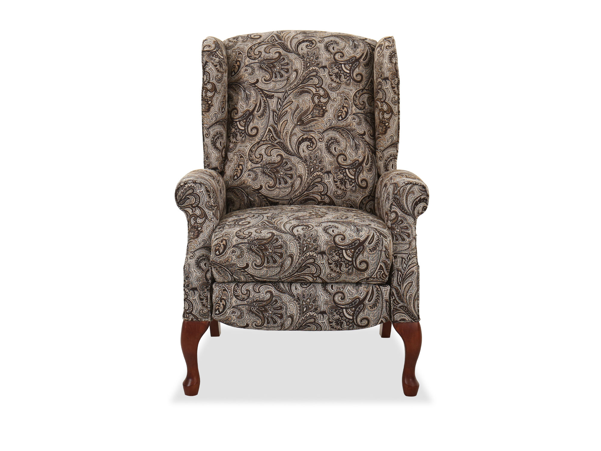 recliner chairs cheap clear kitchen recliners reclining sofas mathis brothers contemporary floral paisley patterned 30 quot high leg