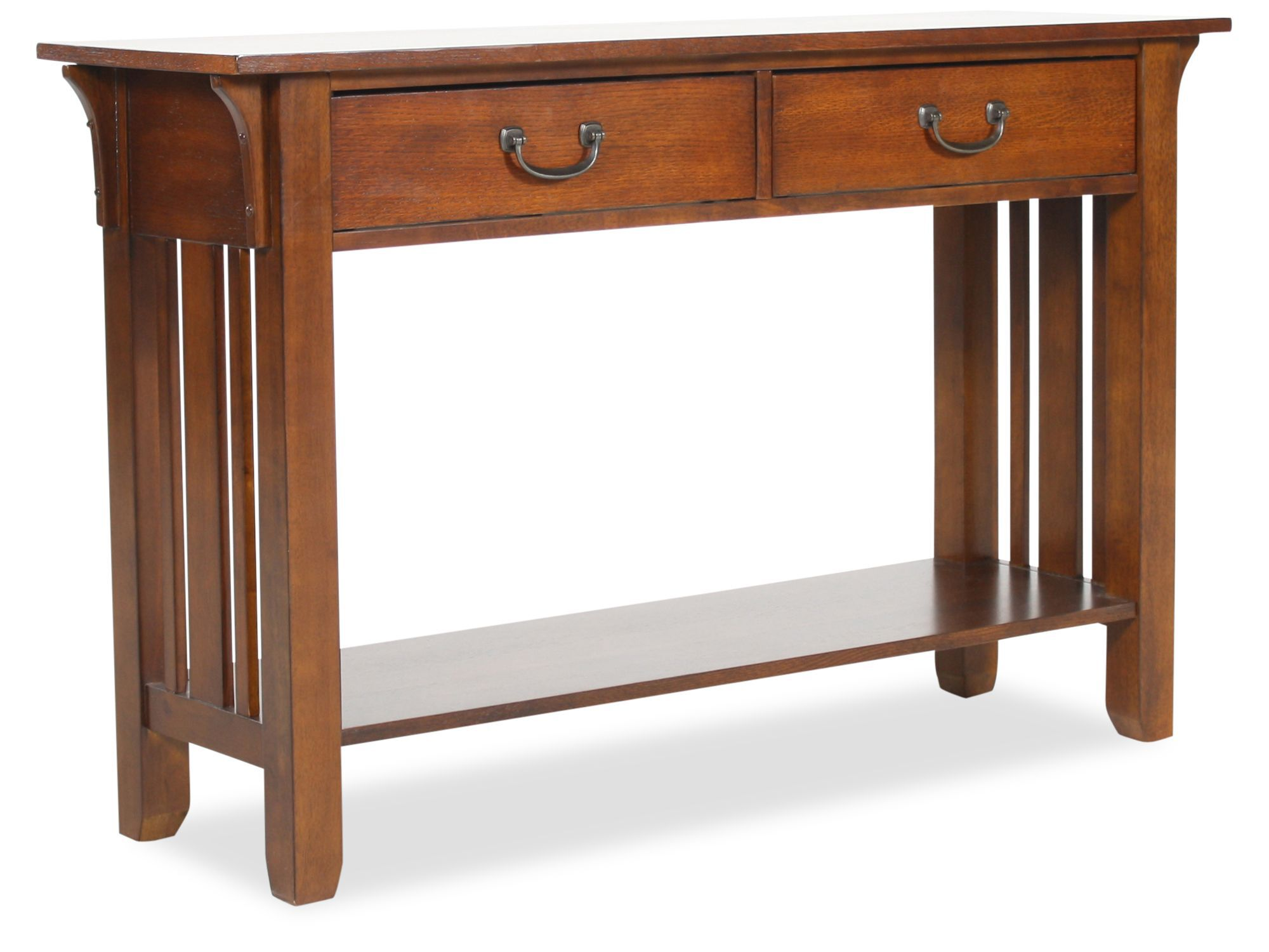 oak mission sofa table leather warehouse two drawer in weathered mathis
