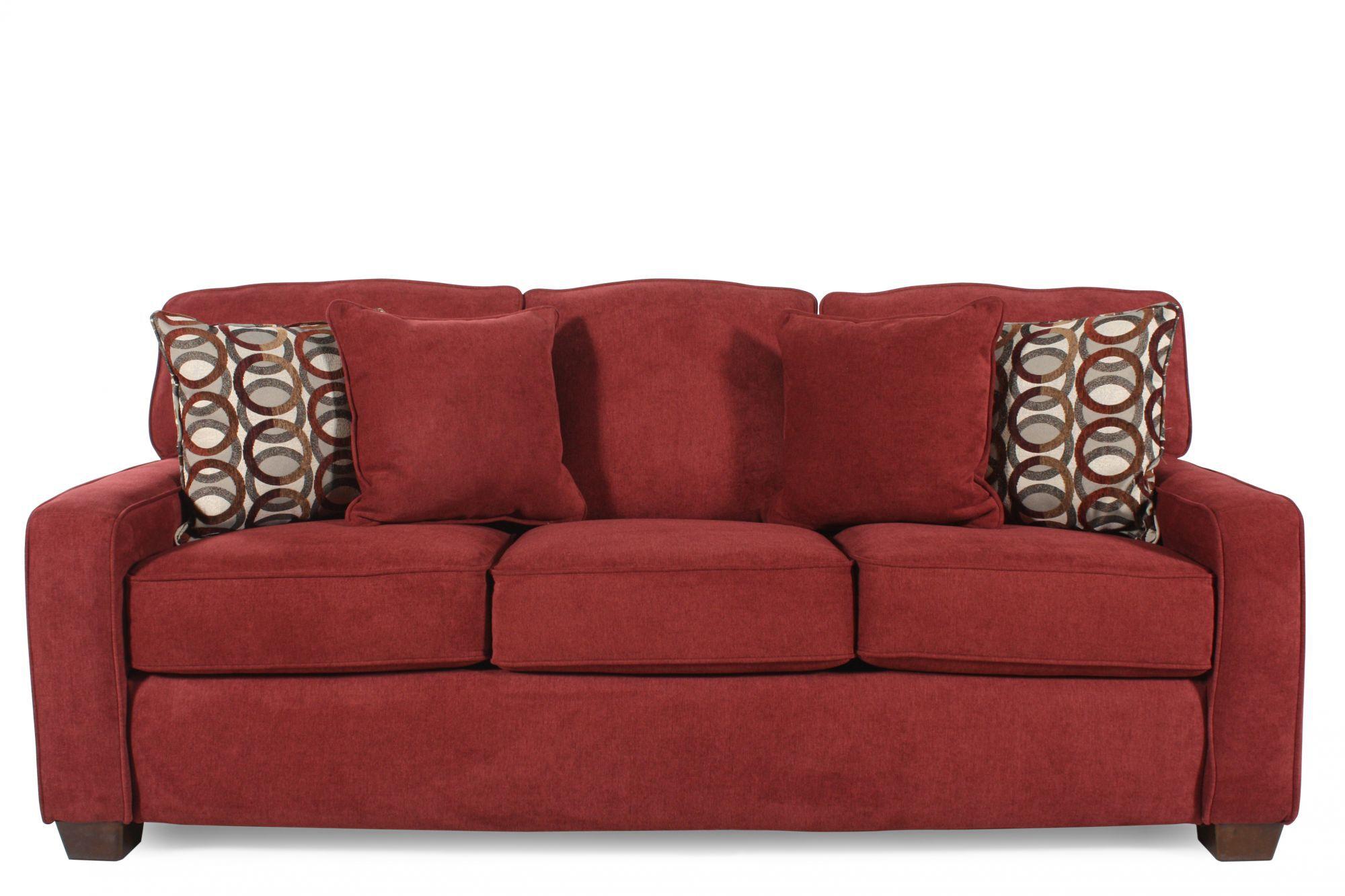 IRest Casual 82 Queen Sleeper Sofa in Red Berry  Mathis