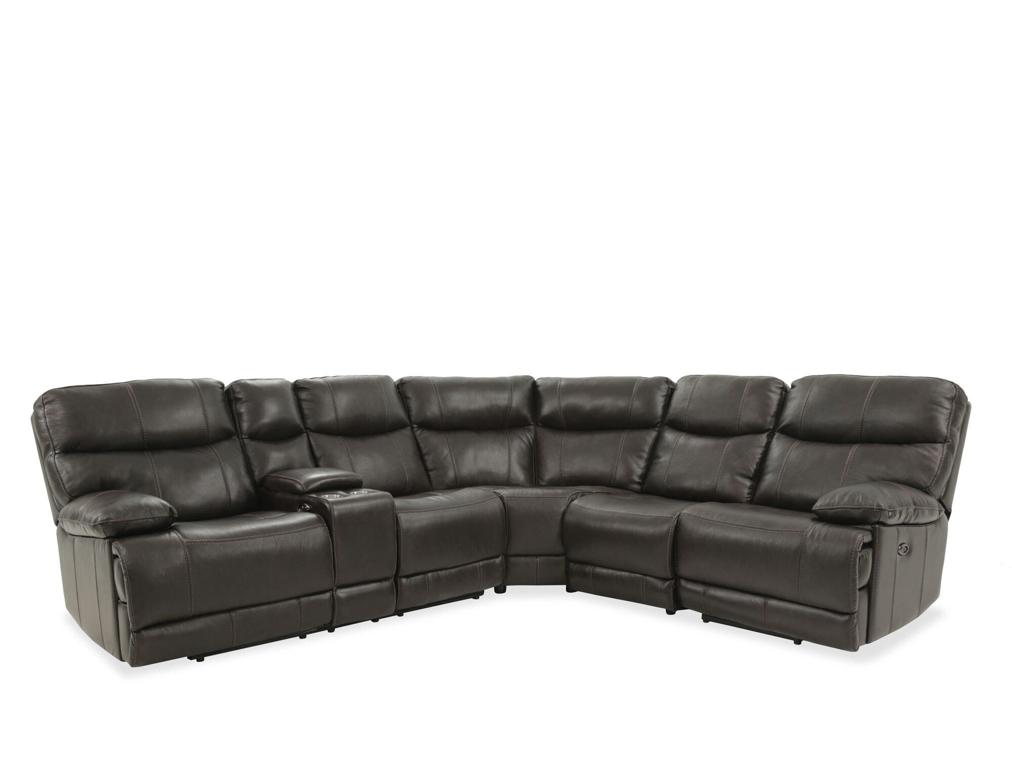 4 piece recliner sectional sofa mission style bed four leather reclining in brown mathis