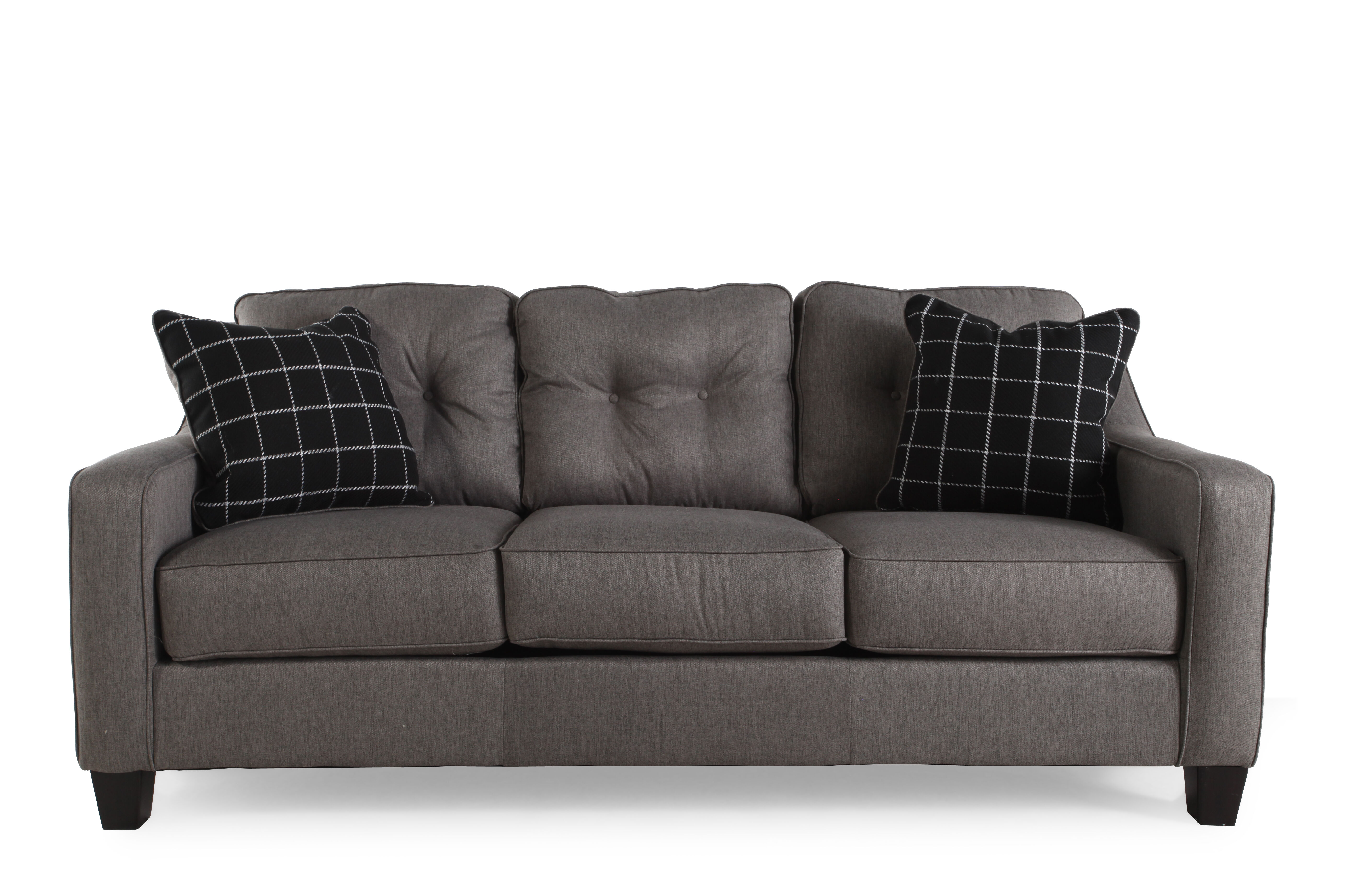 """Contemporary Button-tufted 80"""" Sofa In Charcoal Mathis"""