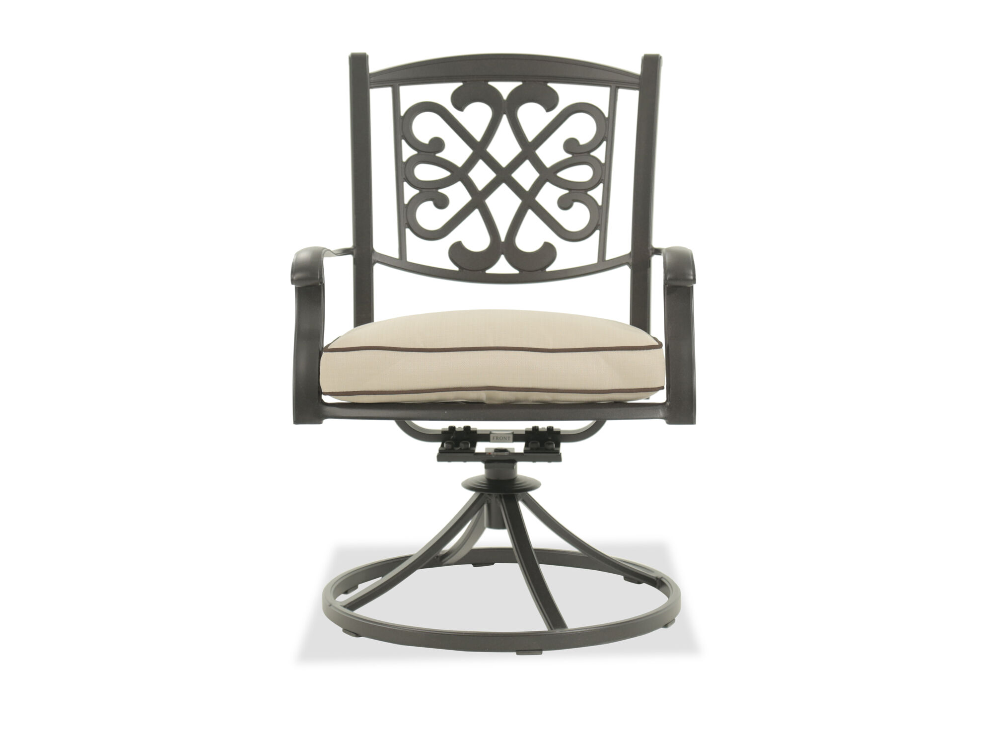 metal outdoor chair kidkraft table and chairs white patio seating mathis brothers scrollwork aluminum swivel in dark brown