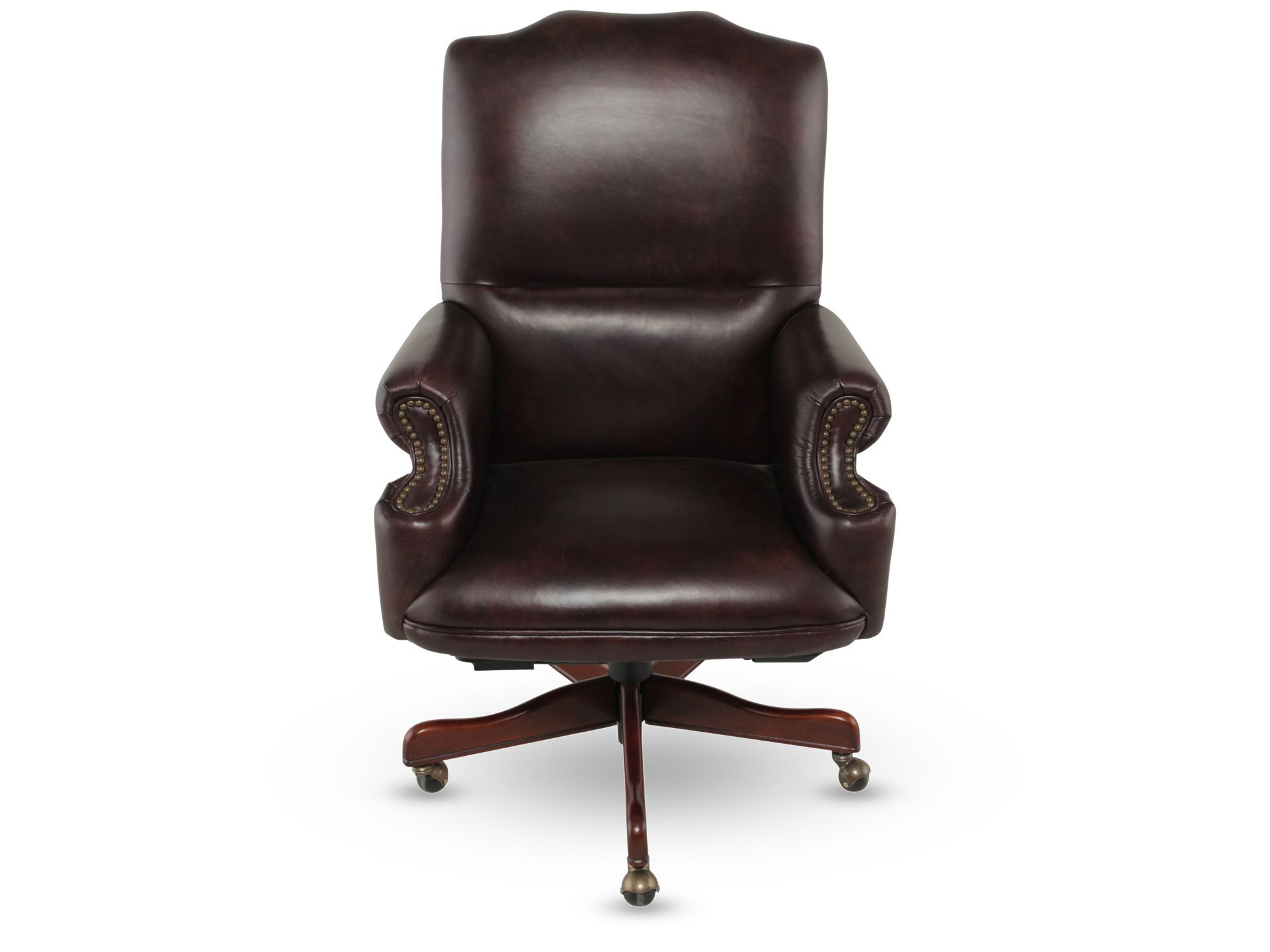 swivel chair brown open back accent leather executive tilt in rich mathis