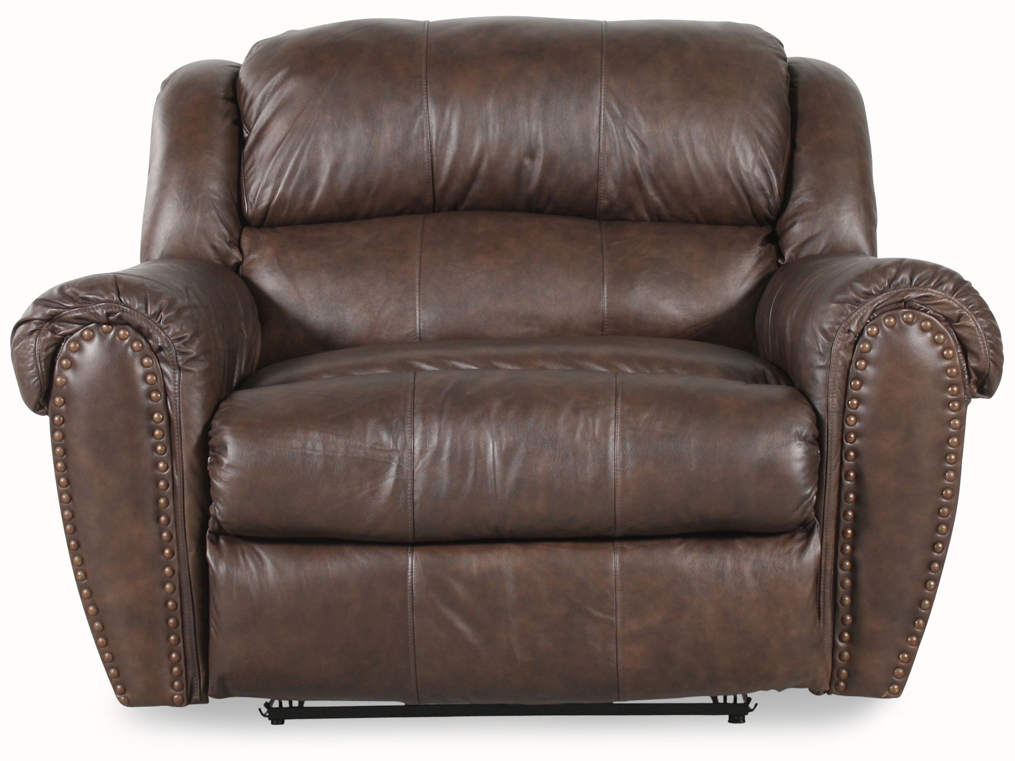 Nailhead Accented Leather Snuggler Recliner in Brown