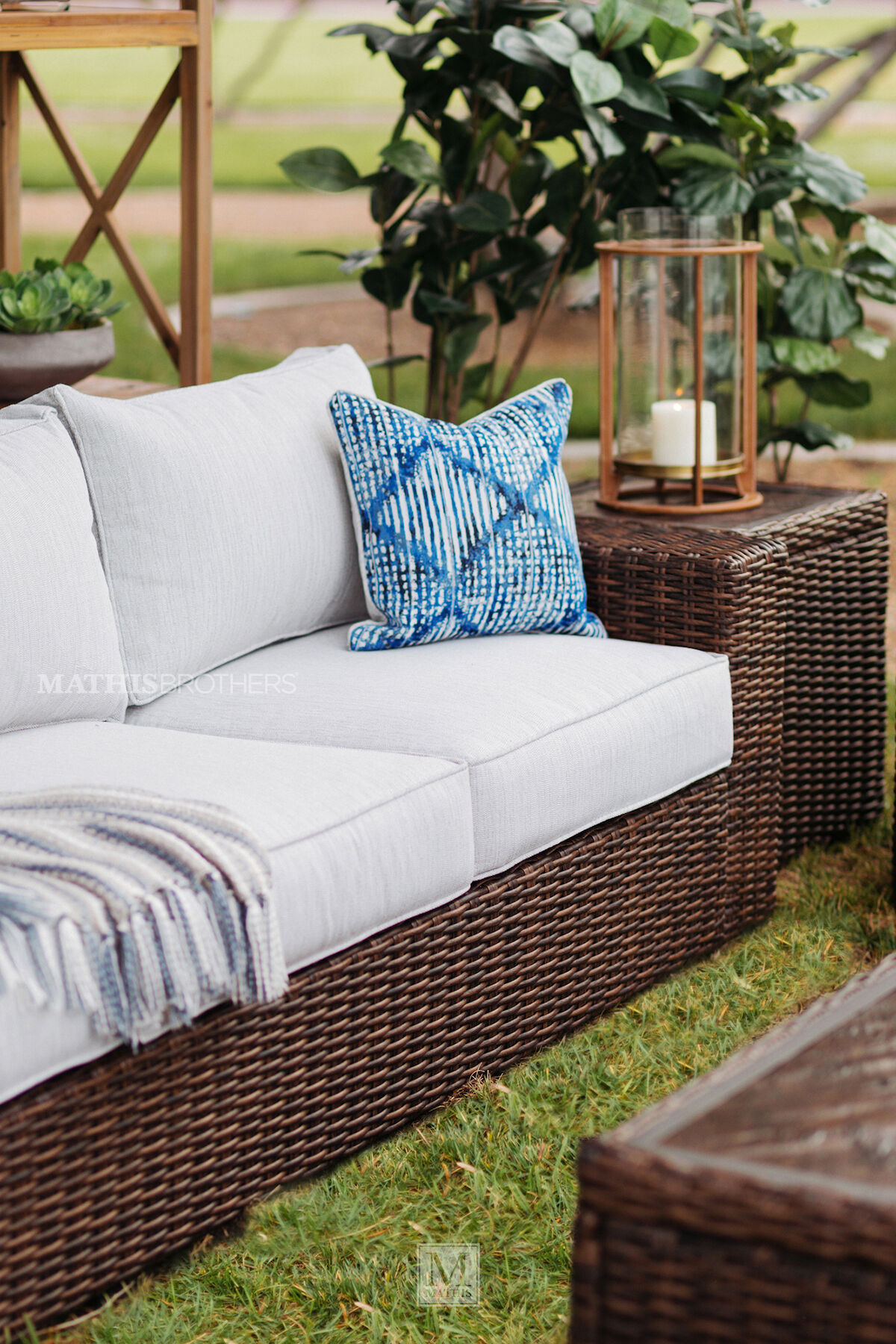Contemporary Woven Patio Sofa In Dark Brown Mathis Brothers Furniture