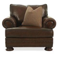 Bernhardt Brown Leather Club Chair Accent Swivel Naihead Accented European Classic In Mathis