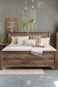 Four-Piece Rustic Farmhouse Bedroom Set in Brown | Mathis ...