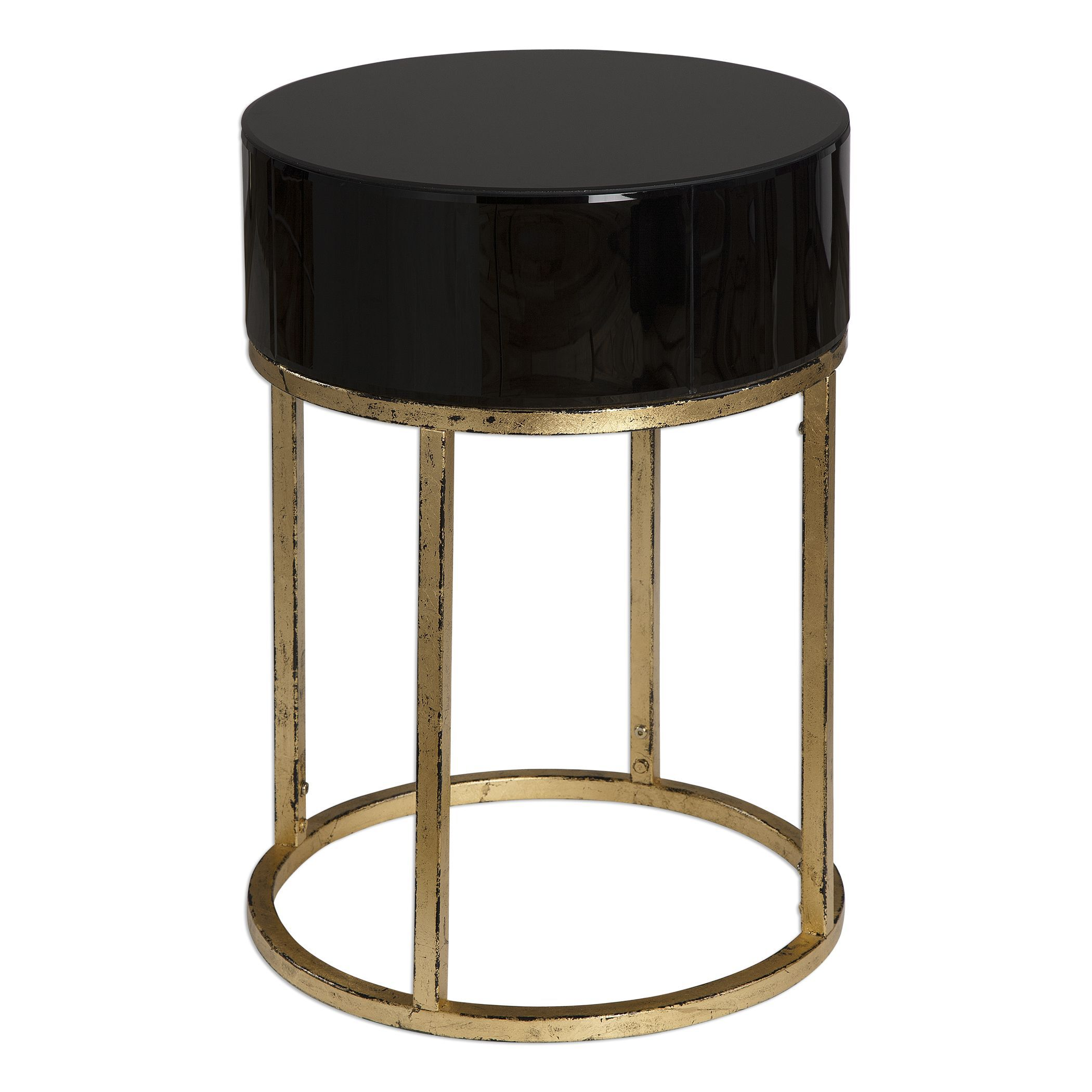 Circular Caged Frame Curved Accent Table In Antique Gold