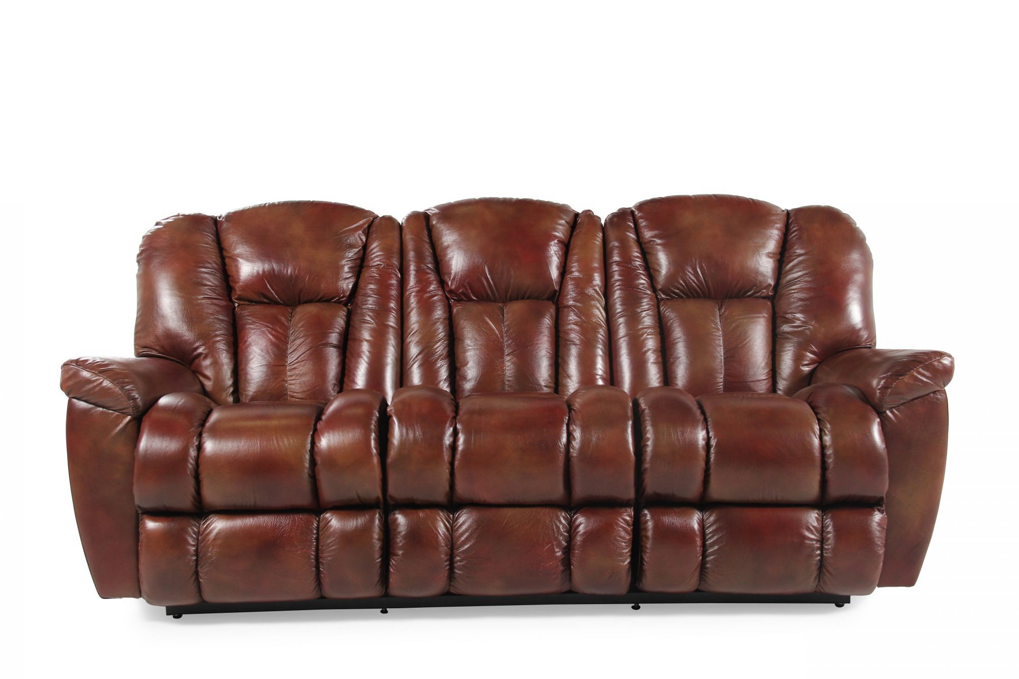 Leather 87 Reclining Sofa in Mahogany  Mathis Brothers