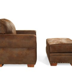 Microfiber Club Chair With Ottoman Learning Fisher Price Nailhead Trimmed And In Dark Russet Brown