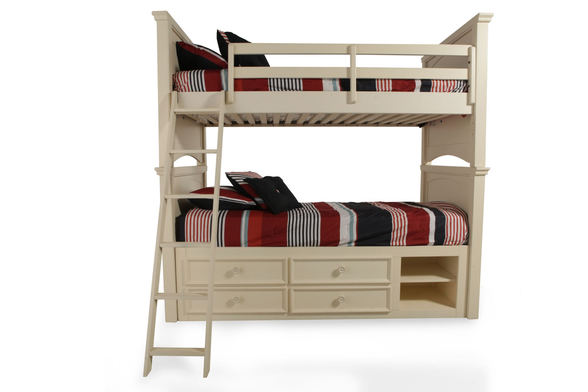 Traditional Youth Twin Over Twin Bunk Bed With Storage