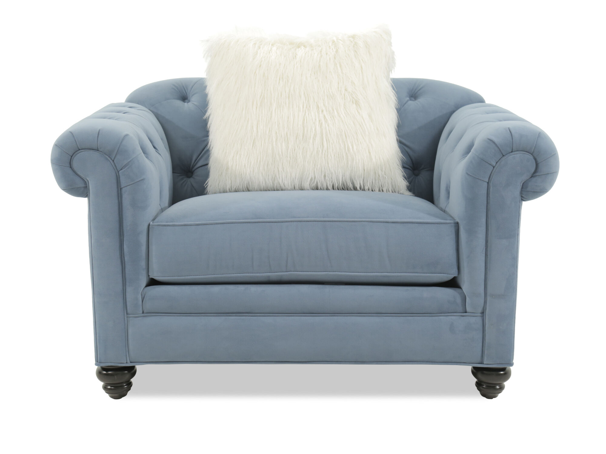 tufted blue chair maribel baby electric rocking swing cradle sw 102 button microfiber arm in mathis
