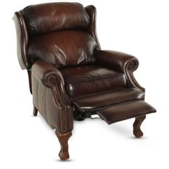 Bernhardt Brown Leather Club Chair Adirondack Chairs Kits Nailhead Accented 32 5 Quot Wingback Recliner In