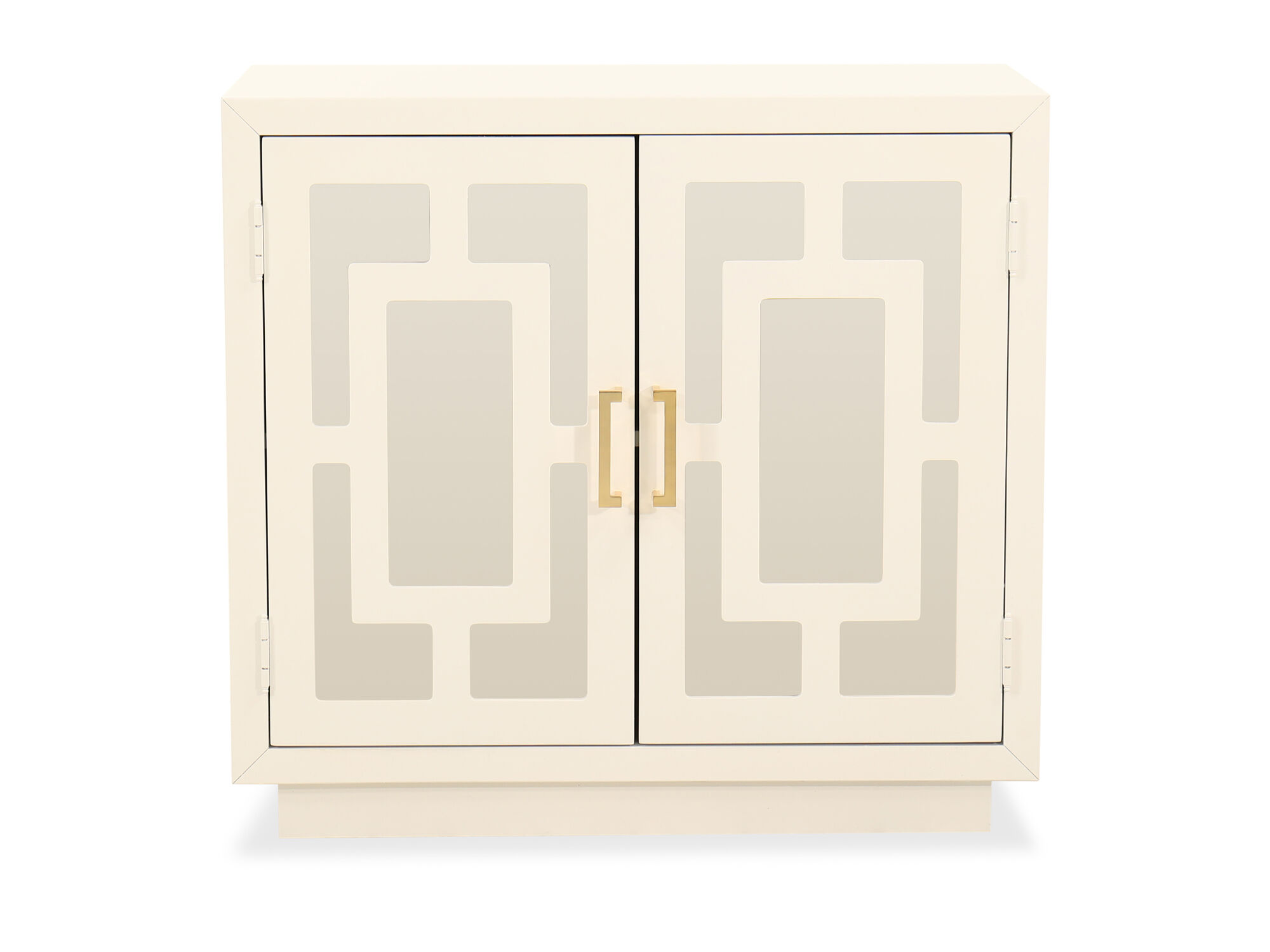 Contemporary Geometric Accent Cabinet In White Mathis