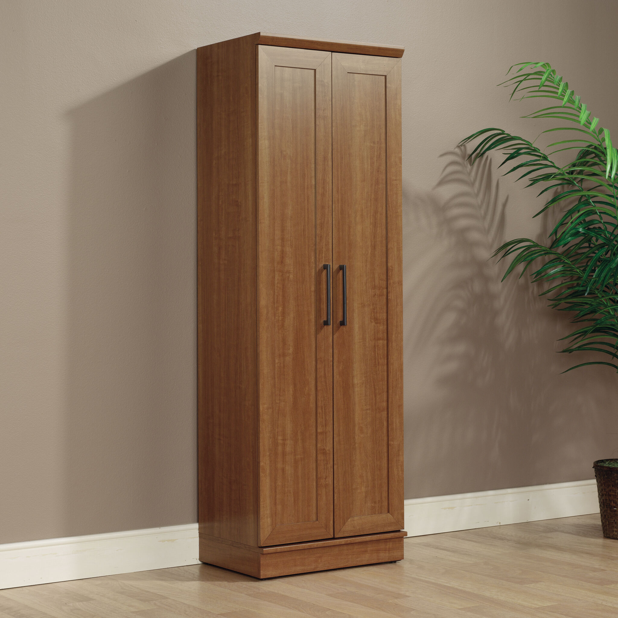 TwoDoor Contemporary Storage Cabinet in Sienna Oak