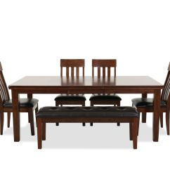 Dining Set With Bench And Chairs Ideas For Craft Room Sets Kitchen Furniture Mathis Brothers Six Piece Casual In Brown