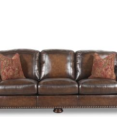 Leather Nailhead Sofa Set Dfs Brown Chaise Accented 97 Quot In Mathis