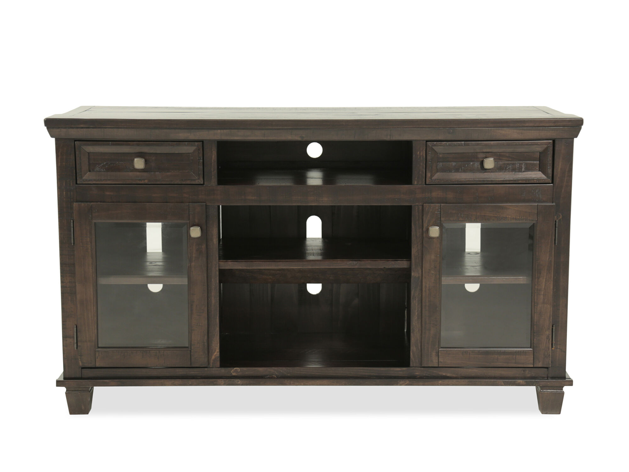 Sawn Distressed Solid Pine TV Stand In Brown Mathis